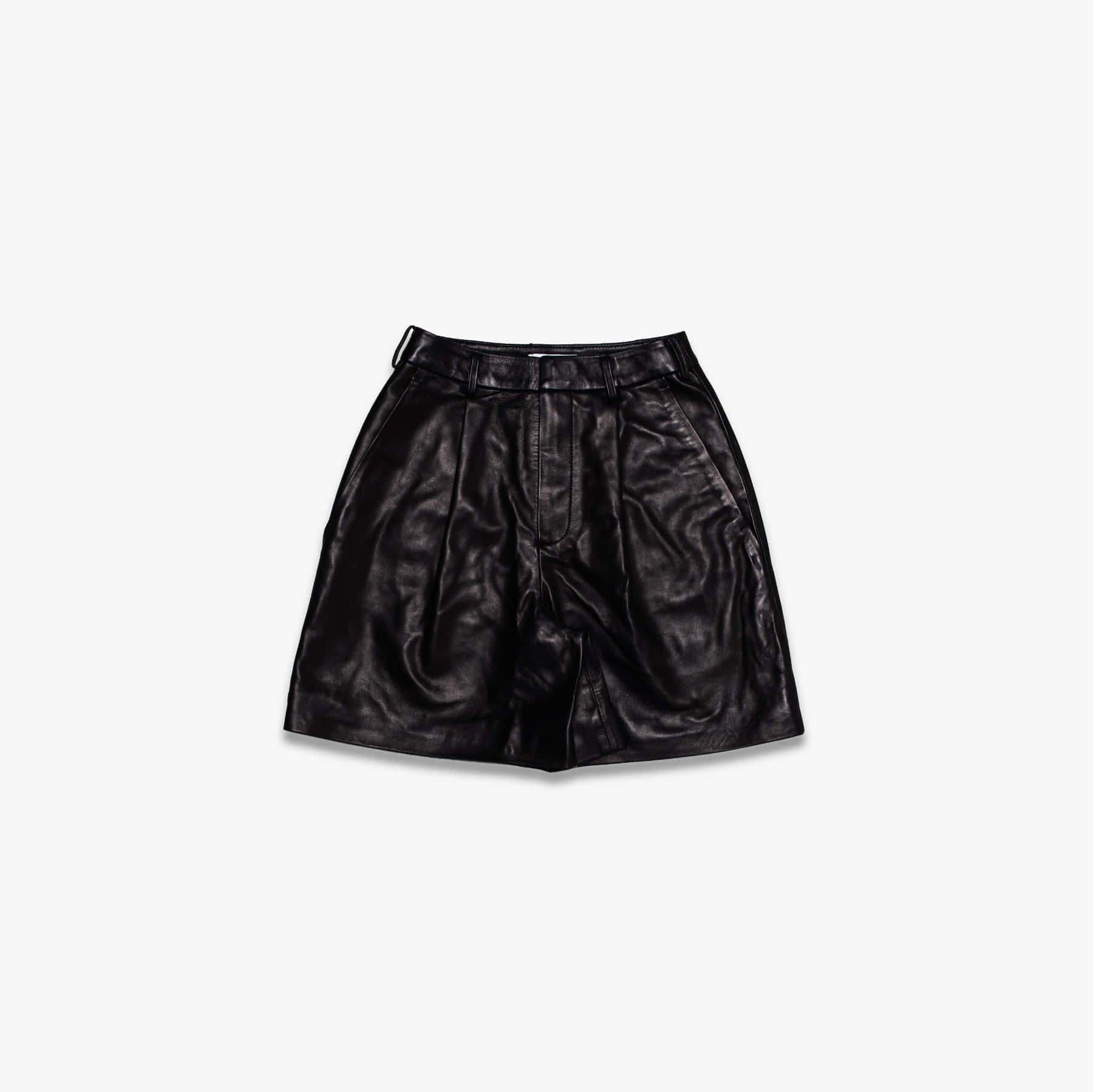 LAMBSKIN LEATHER PLEATED FRONT SHORTS