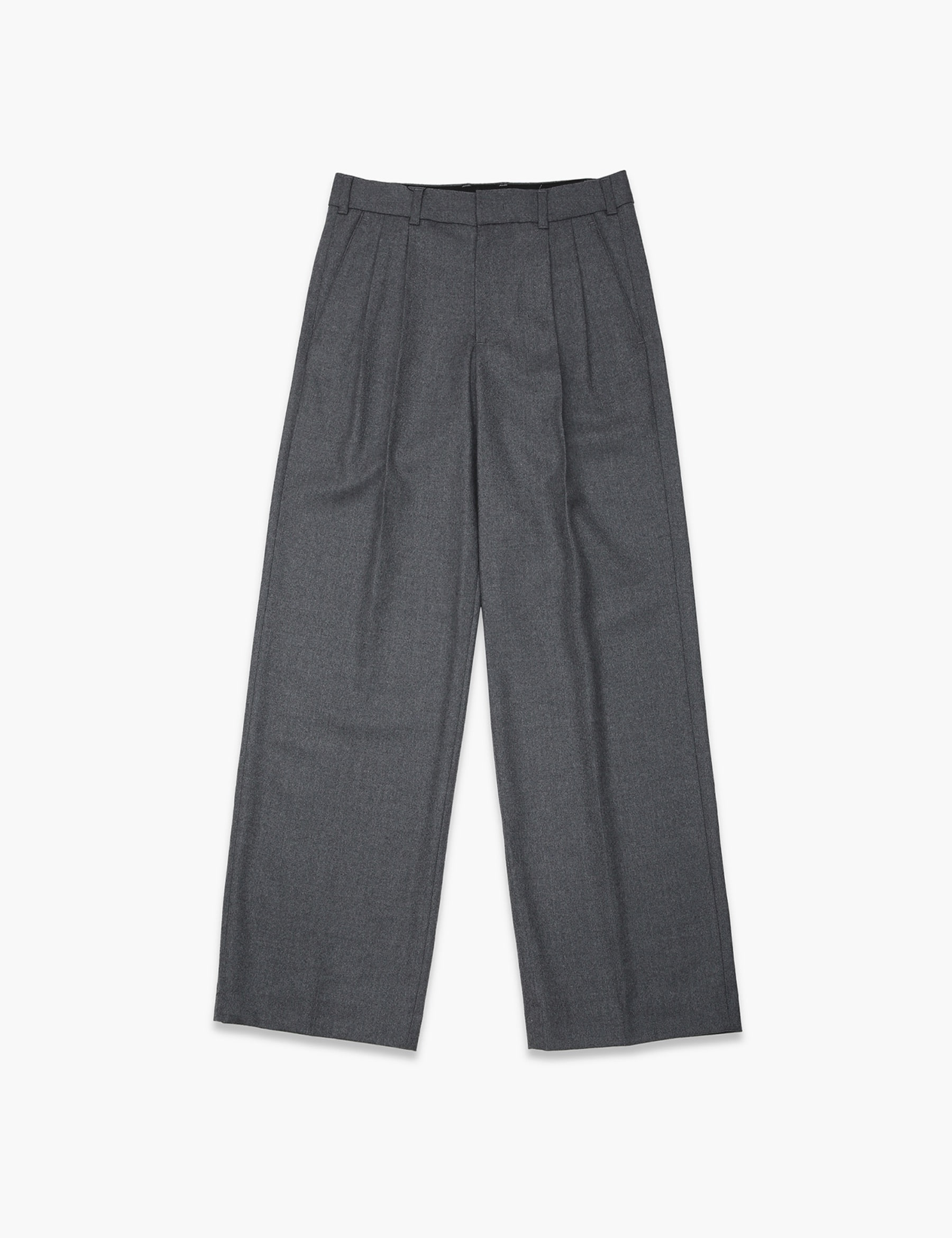 PLEATED FRONT WIDE-LEG TROUSERS