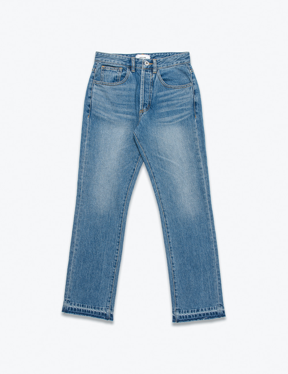 KICK FLARE MINIMALIST DENIM JEANS (WASHED BLUE)