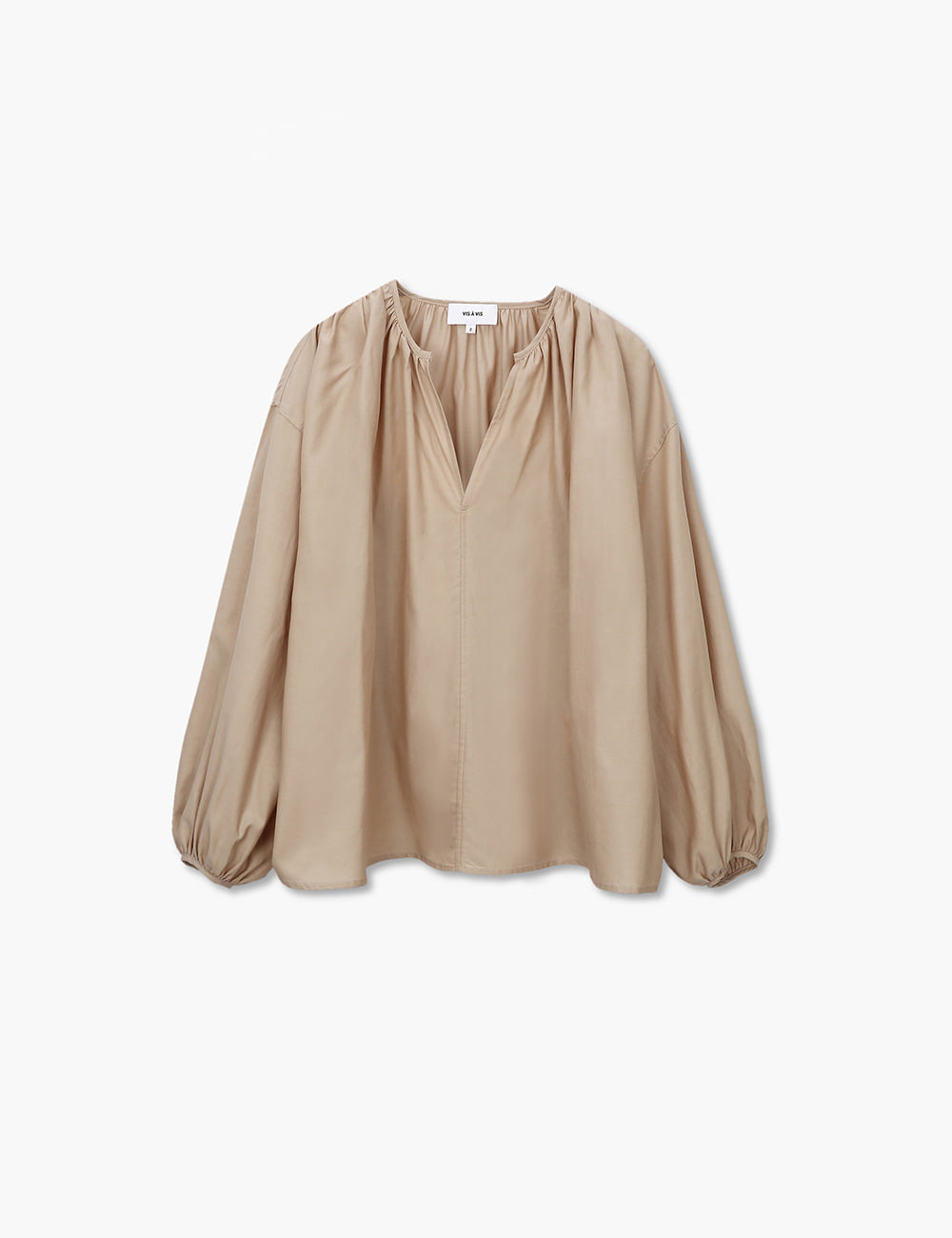 GATHERED CUPRO TOP (BEIGE)