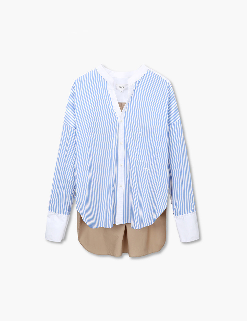 TRICOLOR BANDED COLLAR SHIRT