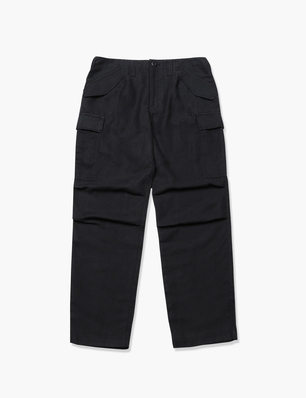 LINEN FIELD CARGO PANTS (BLACK)