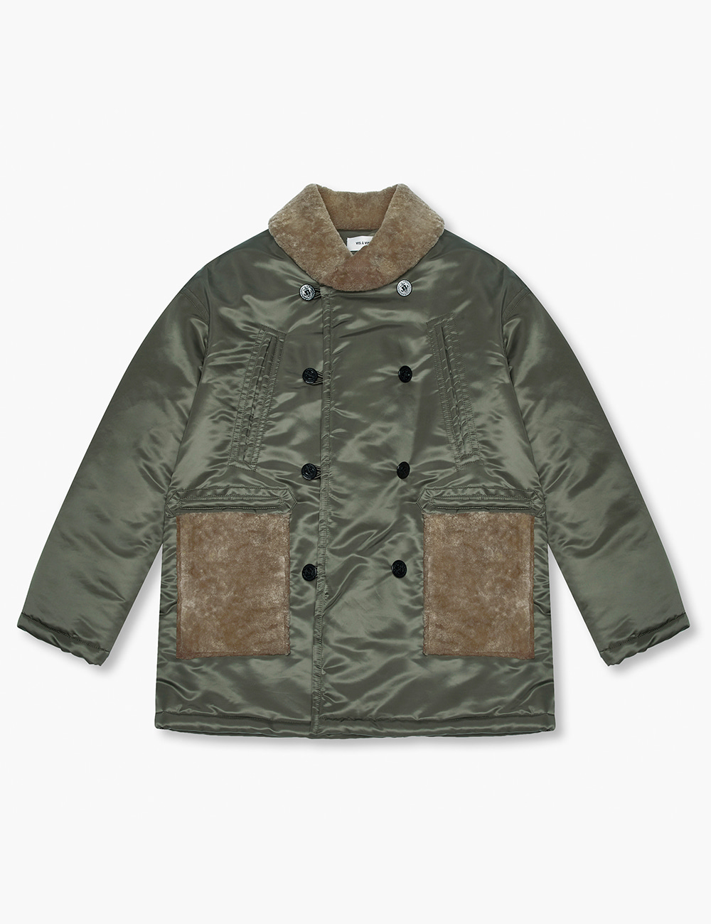SHEARLING MACKINAW COAT (OLIVE DRAB)