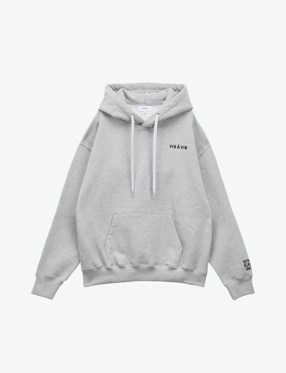 V LOGO UNISEX HOODED SWEATSHIRT (GRAY)